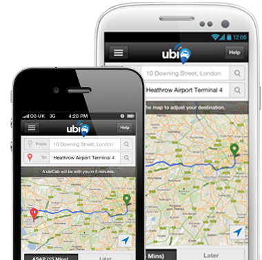 iPhone cab booking app ubiCabs
