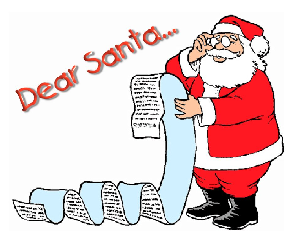 Santa With Generic Christmas List