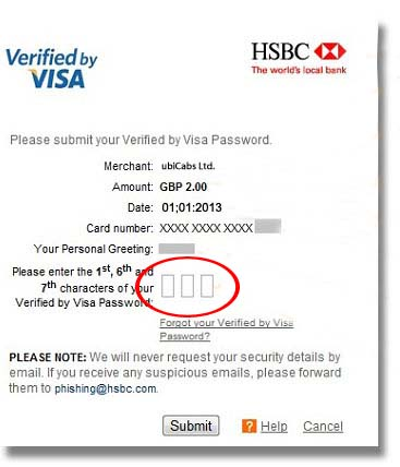 secure authentication payment screen example