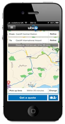 iphone with cardiff city map